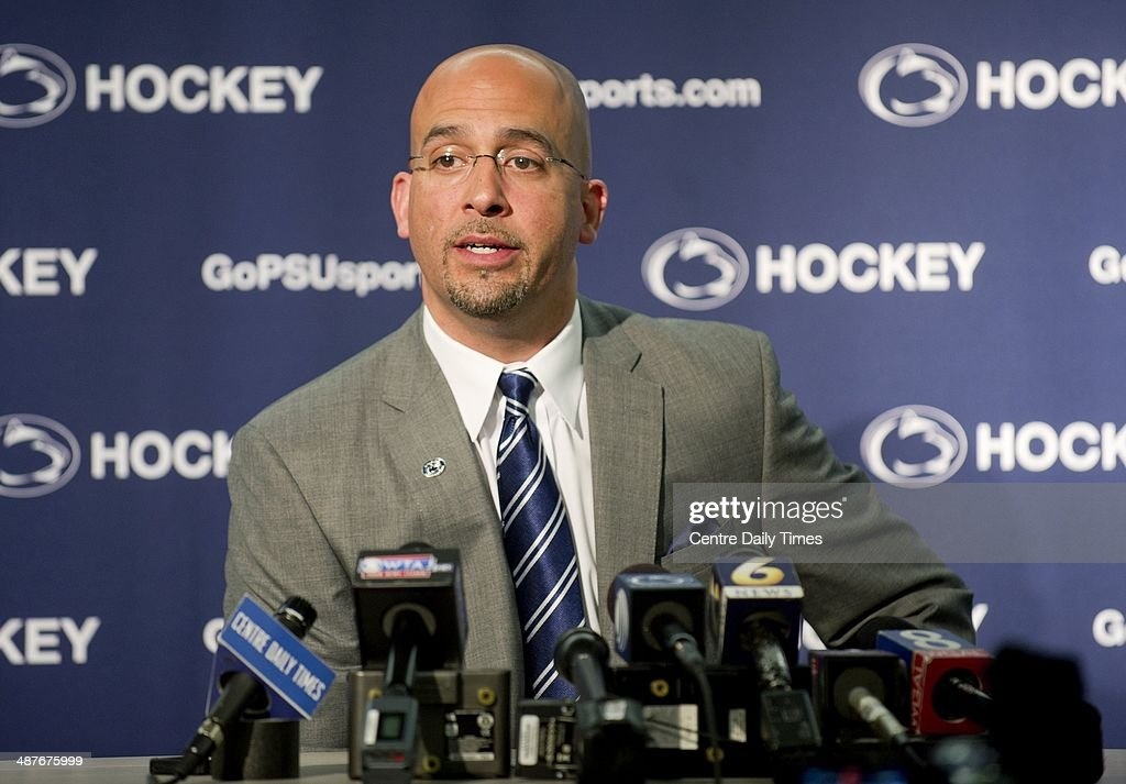 Penn State football coach James Franklin talks to the media before the Coaches Caravan at Pegula Ice Arena in State College, Pa., Thursday, May 1, 2014.