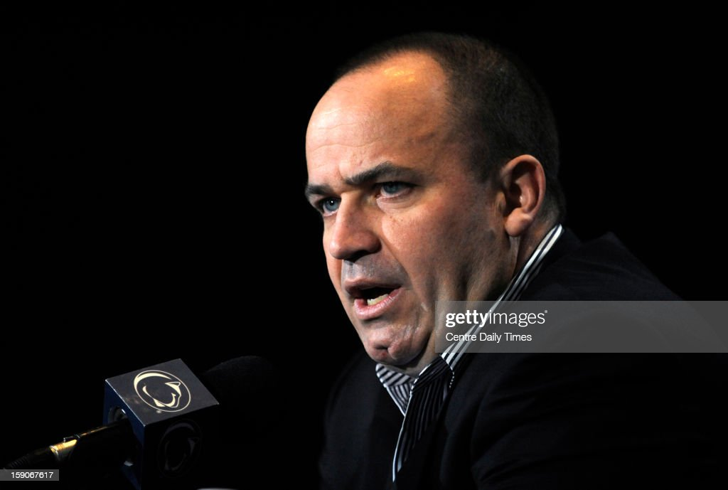 Penn State football head coach Bill O'Brien holds a news conference inside Beaver Stadium on the Penn State University campus, in State College, Pennsylvania, Monday, January 7, 2012.