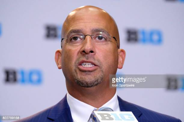 Penn State Football head coach James Franklin takes questions during the Big 10 Football Media Days on July 25 2017 at Hyatt Regency McCormick Place...