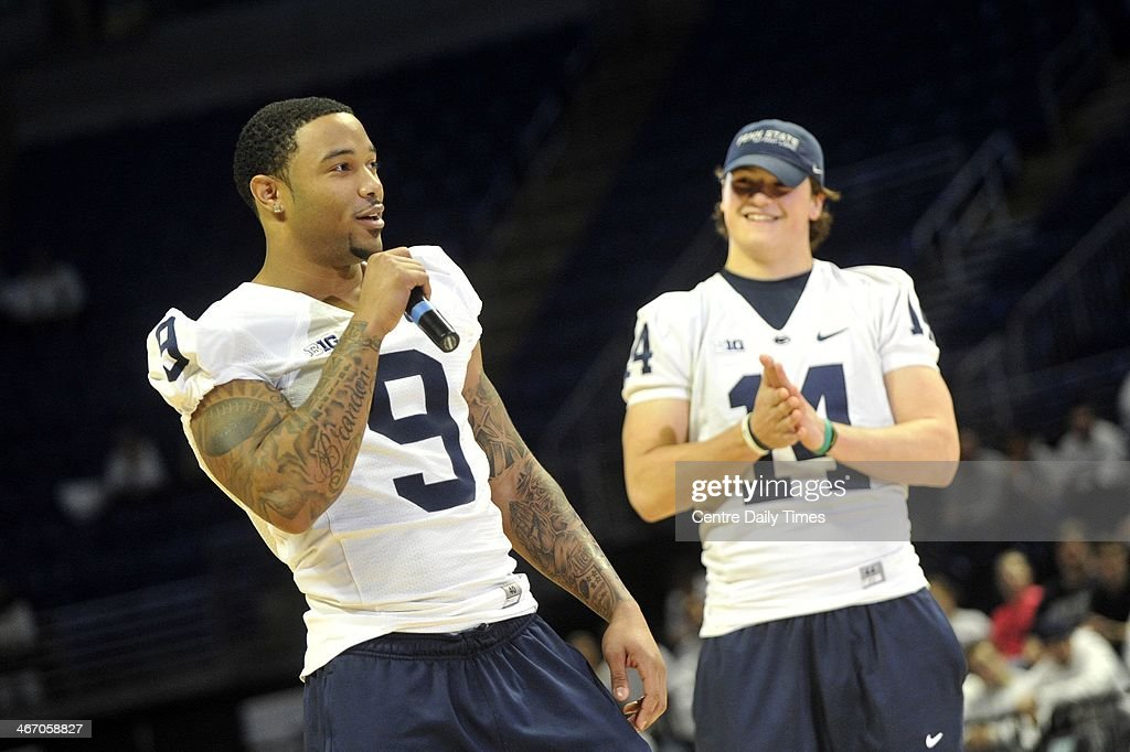 Penn State football players Jordan Lucas and Christian Hackenberg talk with the crowd at Beaver Stadium in State College, Pa.