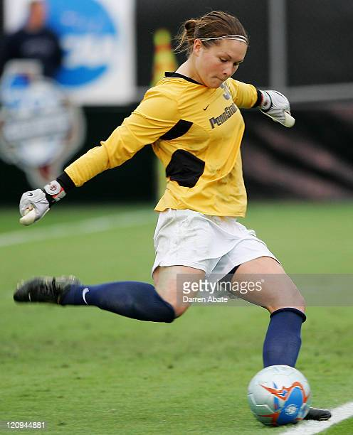Penn State goalie Erin McLeod kicks the ball into play during the 2005 NCAA Women's College Cup semifinal game between the Penn State Nittany Lions...