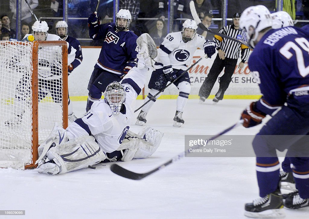 Penn State goalie Matthew Skoff makes a save in the second period against the U.S. National Under-18 team on Friday, January 11, 2013, at Greenberg Ice Pavilion in University Park, Pennsylvania.