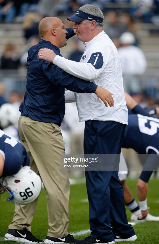 Penn State head coach James Franklin and offensive coordinator and quarterbacks coach Joe Moorhead hug during warm ups during a college football game between the Indiana Hoosiers and the Penn State Nittany Lions at Beaver Stadium in State College, PA.