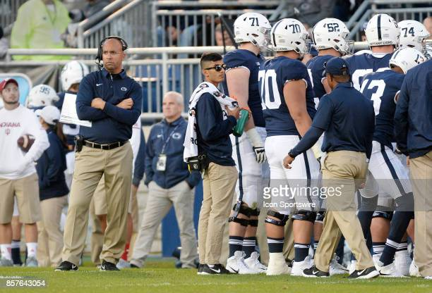 Penn State head coach James Franklin has arms crossed as he looks angry on the side line during a time out during a college football game between the...