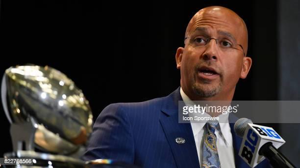 Penn State head coach James Franklin on the podium addressing the media during the Big Ten Media Days on July 25 2017 at Hyatt Regency McCormick...