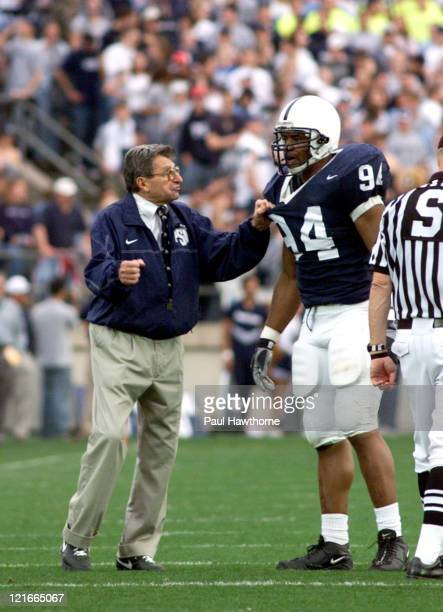 Penn State head coach Joe Paterno makes a point to Derek Wake during first half action against Ohio State at Beaver Stadium University Park...