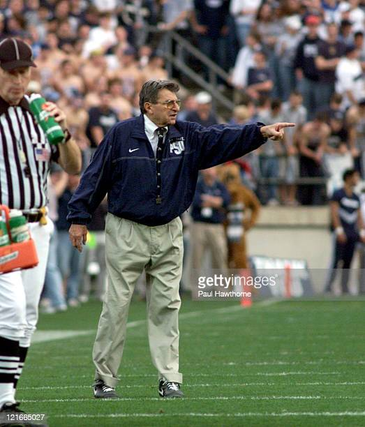 Penn State head coach Joe Paterno walks the sidelines during first half action against Ohio State at Beaver Stadium University Park Pennsylvaina...