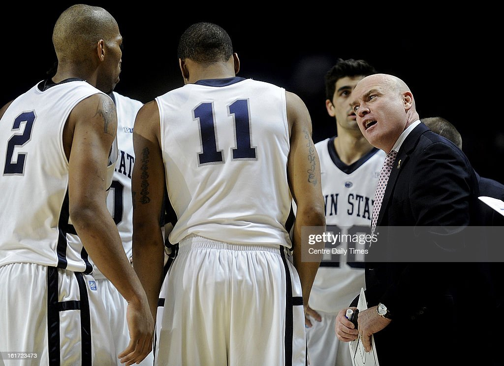 Penn State head coach Patrick Chambers talks to his players during action against Iowa at the Bryce Jordan Center in University Park, Pennsylvania, on Thursday, February 14, 2013. Iowa won, 74-72.
