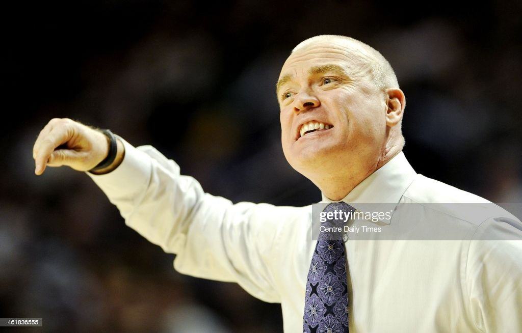 Penn State head coach Patrick Chambers yells to his players during action against Indiana on Saturday, Jan. 11, 2014, at the Bryce Jordan Center in University Park, Pa. Indiana won, 79-76.
