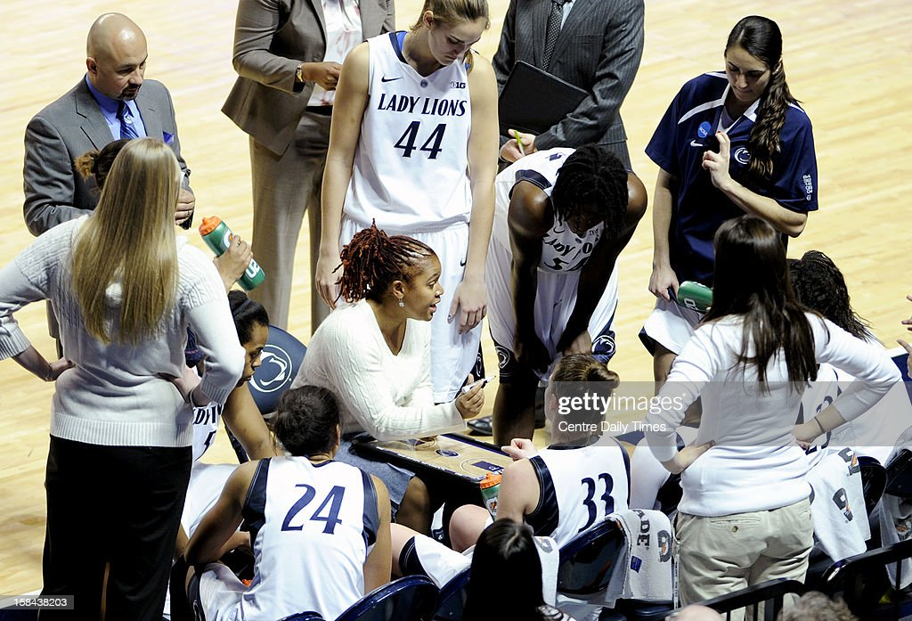 Penn State Lady Lions coach Coquese Washington talks with her players during a time out of the game against South Dakota State at the Bryce Jordan Center in State College, Pennsylvania, Sunday, December 16, 2012. Penn State beat South Dakota State, 60-50.