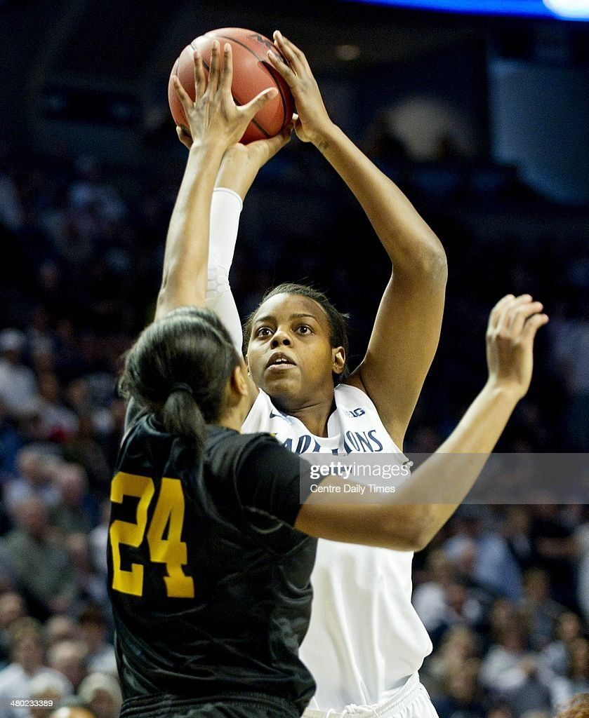 Penn State Lady Lions' Talia East shoots for a basket over Wichita State Shockers' Alex Harden at the Bryce Jordan Center in State College, Pa., on Sunday, March 23, 2014. Penn State won, 62-56, in the first round of the women's NCAA Tournament.