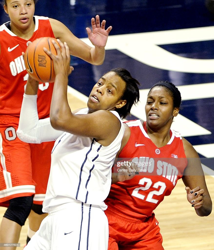 Penn State Lady Lions' Talia East tries to push around Ohio State Buckeyes' Darryce Moore to get to the basket during a women's college basketball game at the Bryce Jordan Center in College Station, Pa., on Thursday, Jan. 16, 2014. The Lady Lions won, 66-42.