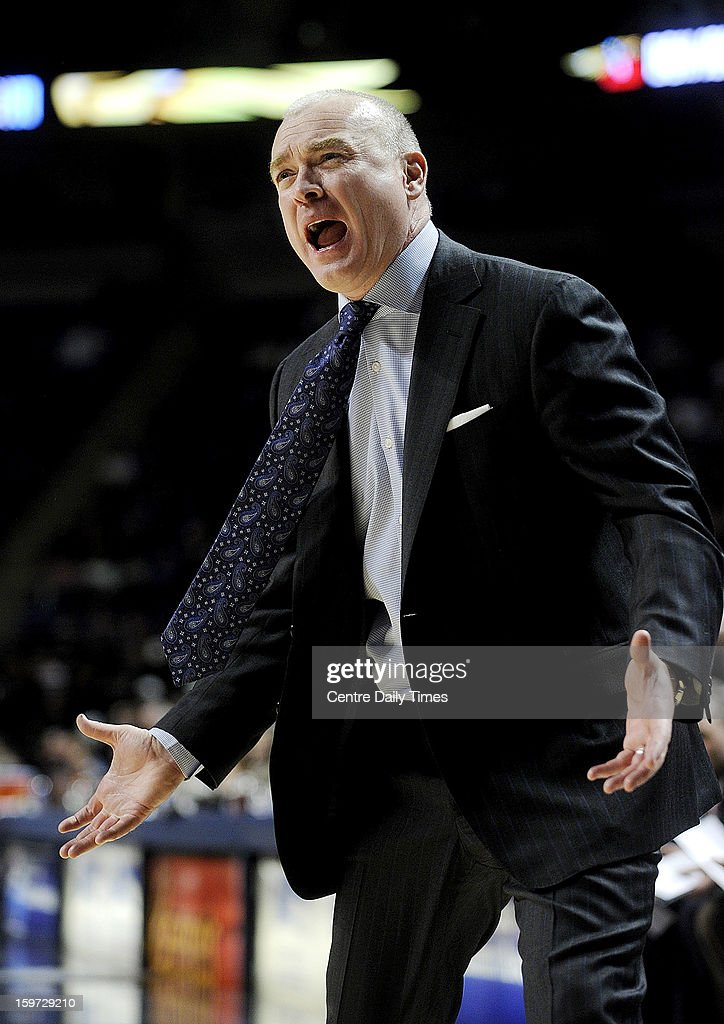 Penn State men's basketball coach Patrick Chambers pleads his case to the referees during a 68-64 loss against Nebraska on Saturday, January 19, 2013, at the Bryce Jordan Center in University Park, Pennsylvania.