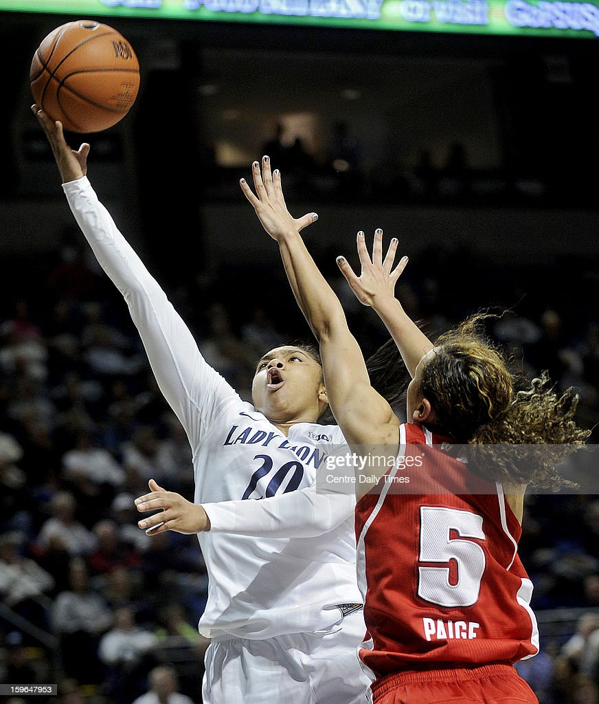 Penn State Nittany Lions' Alex Bentley goes up for a basket against Wisconsin Badgers' Morgan Paige at the Bryce Jordan Center on Thursday, January 17, 2013, in State College, Pennsylvania.