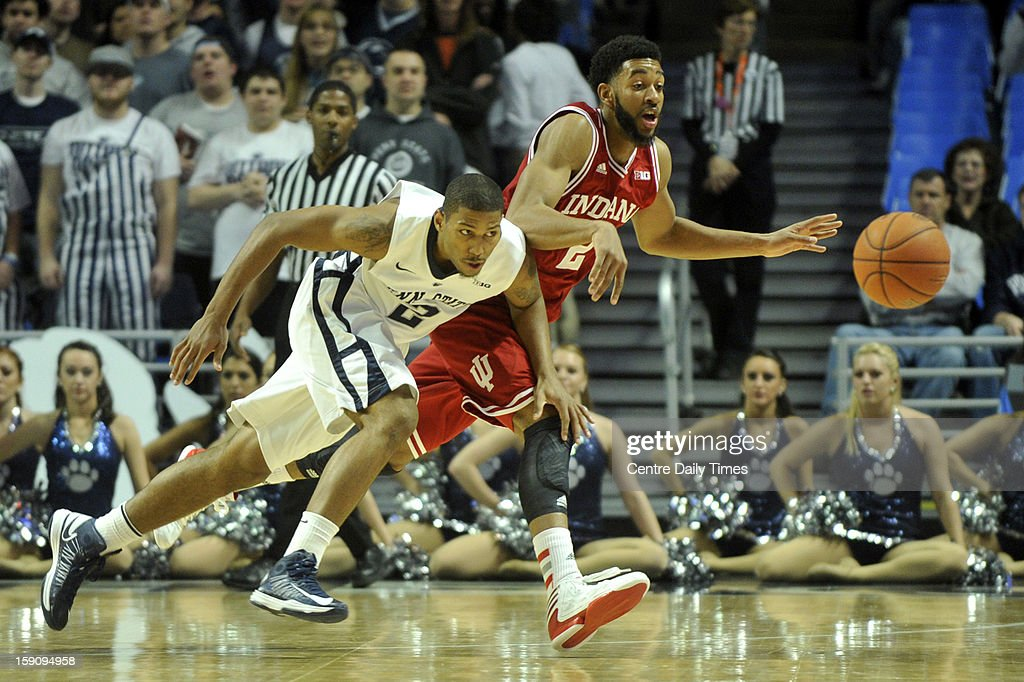 Penn State Nittany Lions' D.J. Newbill and Indiana Hoosiers' Christian Watford go after a loose ball on Monday, January 7, 2013, in State College, Pennsylvania.