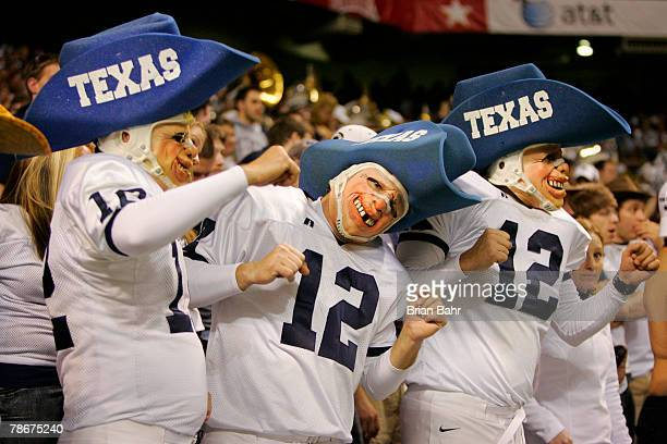 Penn State Nittany Lions fans poke fun at the Texas AM Aggies 12th man tradition during the Valero Alamo Bowl on December 29 2007 at the Alamodome in...