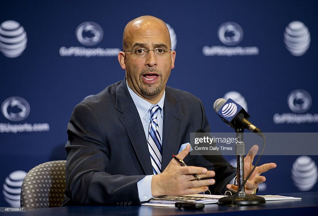 Penn State Nittany Lions football coach James Franklin talks to the media about the 2014 recruiting class on Wednesday, Feb. 5, 2014, at Beaver Stadium in State College, Pa.