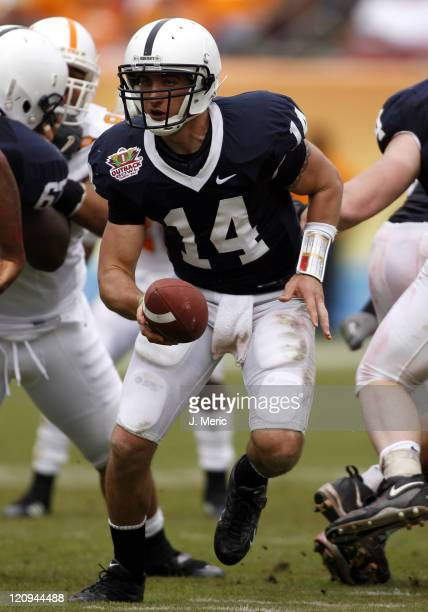 Penn State quarterback Anthony Morelli looks to make a play in Monday's Outback Bowl Game against Tennessee at Raymond James Stadium in Tampa Florida...