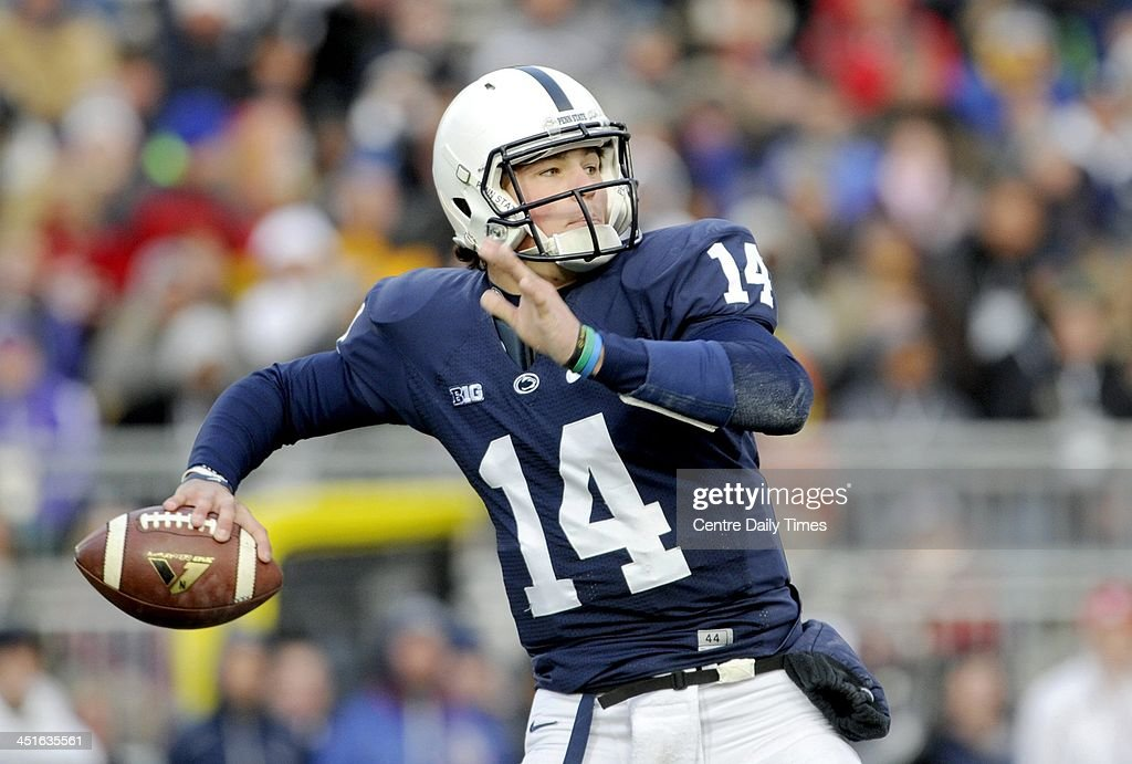 Penn State quarterback Christian Hackenberg makes a throw against Nebraska at Beaver Stadium in University Park, Pa., on Saturday, Nov. 23, 2013. Nebraska won, 23-20.
