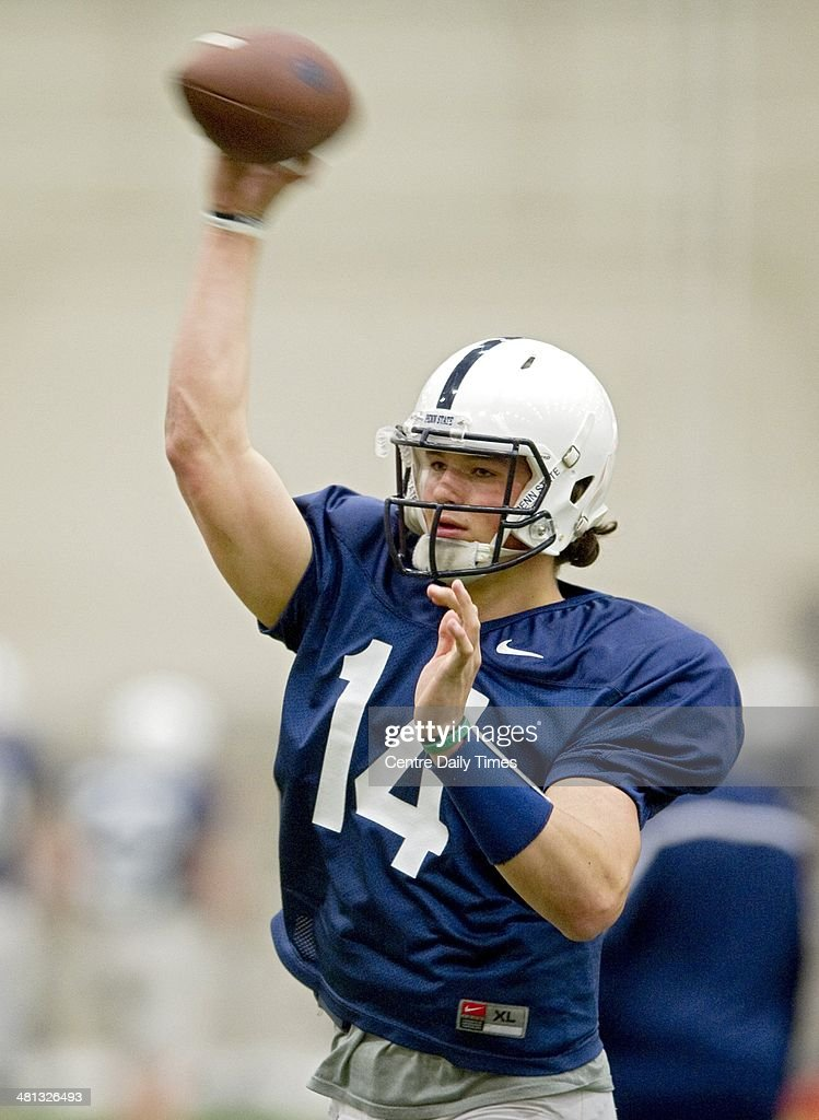 Penn State quarterback Christian Hackenberg warms up during spring practice in Holuba Hall in State College, Pa., Saturday, March 29, 2014.