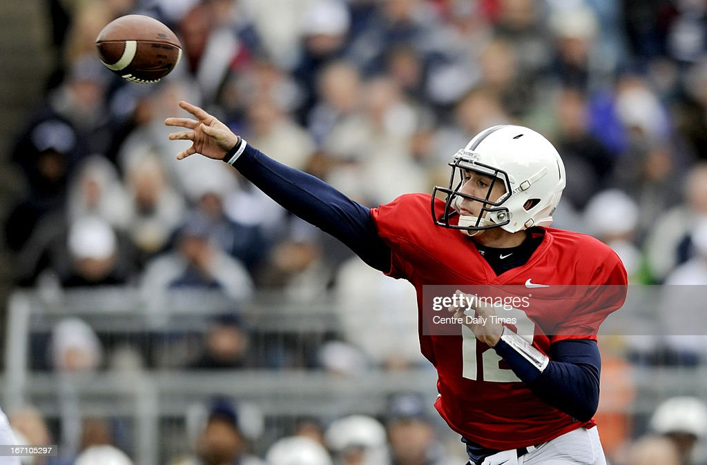 Penn State quarterback Steven Bench (12) finds a passing lane during the team's spring scrimmage at Beaver Stadium in University Park, Pennsylvania, on Saturday, April 20, 2013.