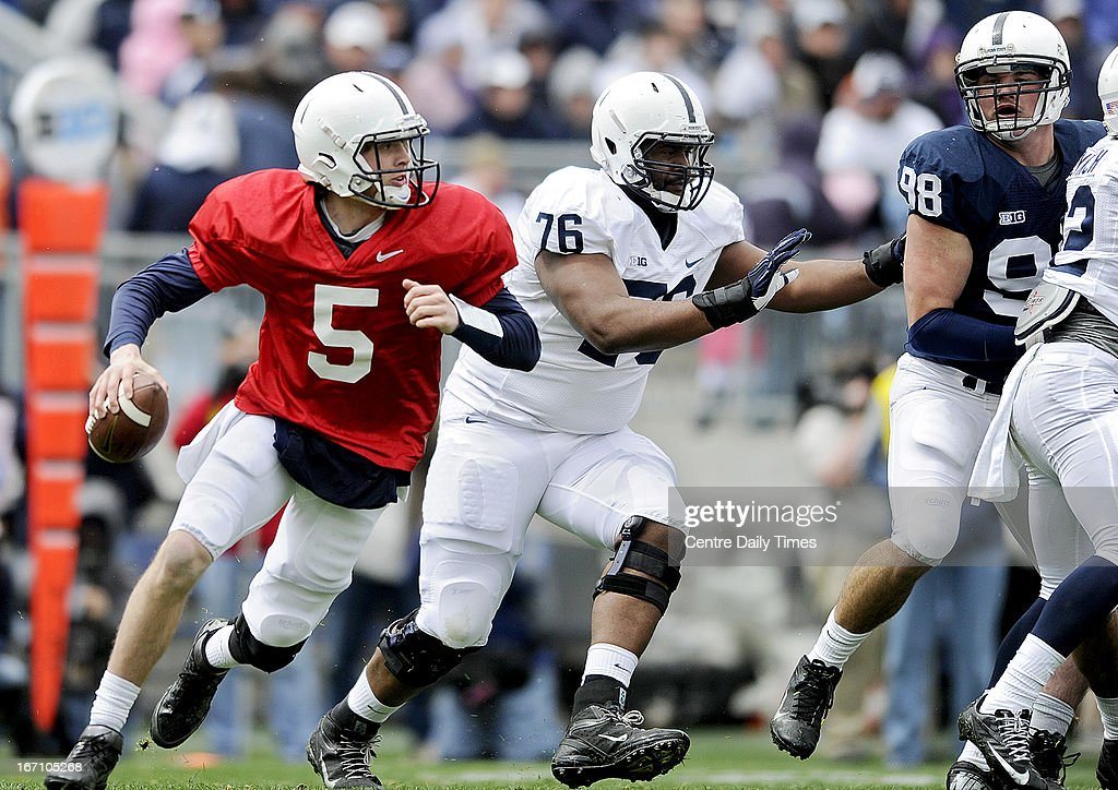Penn State quarterback Tyler Ferguson (5) looks for an open teammate as Donovan Smith blocks for him during the team's spring scrimmage at Beaver Stadium in University Park, Pennsylvania, on Saturday, April 20, 2013.