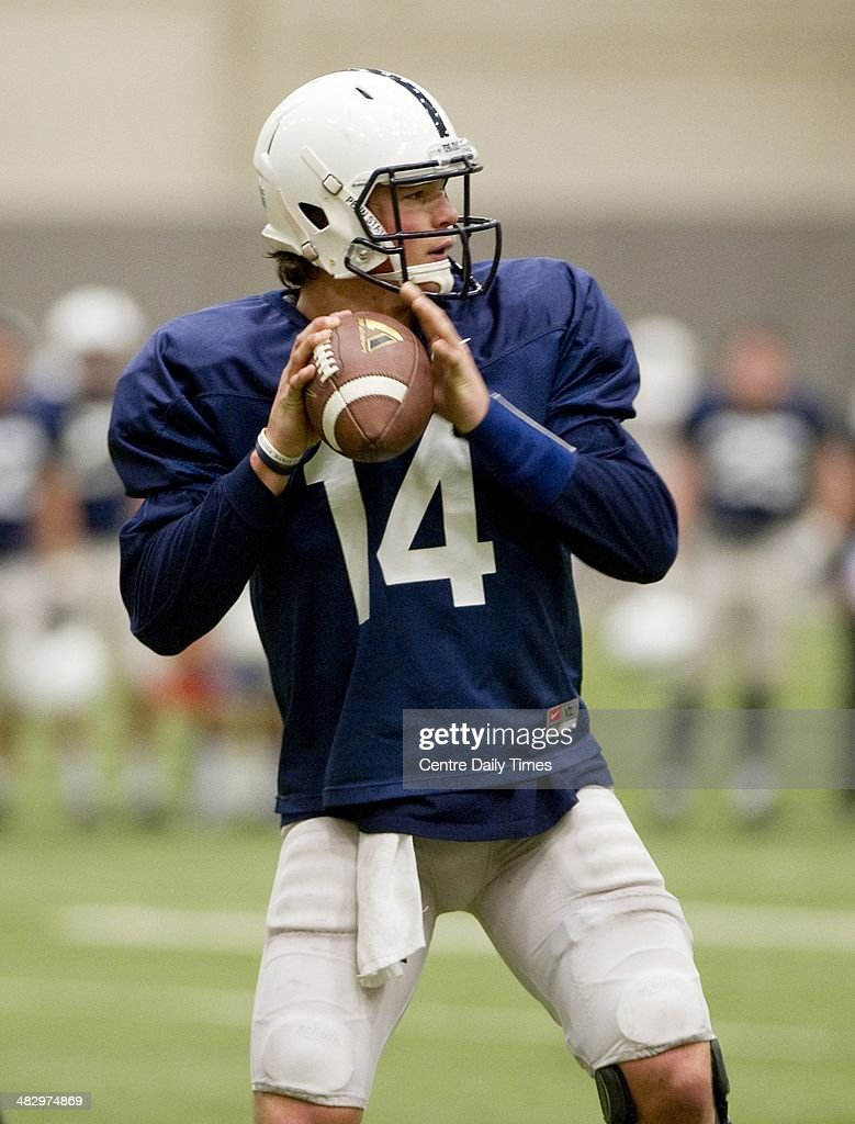 Penn State quaterback Christian Hackenberg loads up a pass during spring practice on Saturday, April 5, 2014, at Holuba Hall in University Park, Pa.