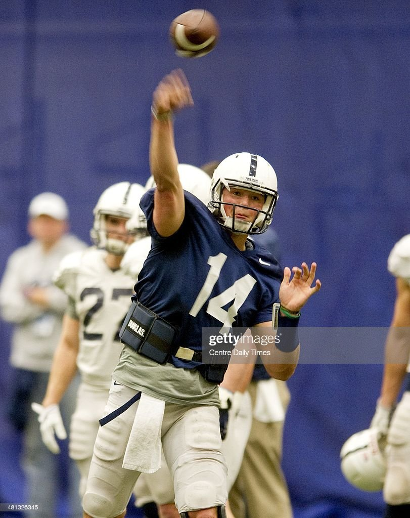 Penn State quaterback Christian Hackenberg passes during spring practice in Holuba Hall in State College, Pa., Saturday, March 29, 2014.