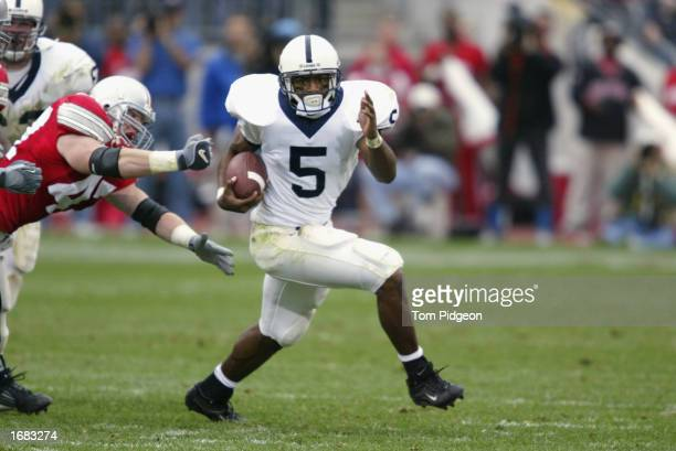 Penn State tailback Larry Johnson rushes during the NCAA football game against Ohio State at Ohio Stadium on October 26 2002 in Columbus Ohio The...