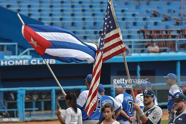 US Penn State university baseball team before a game with Cuban Industriales team at the Latin American stadium in Havana on November 23 2015 AFP...