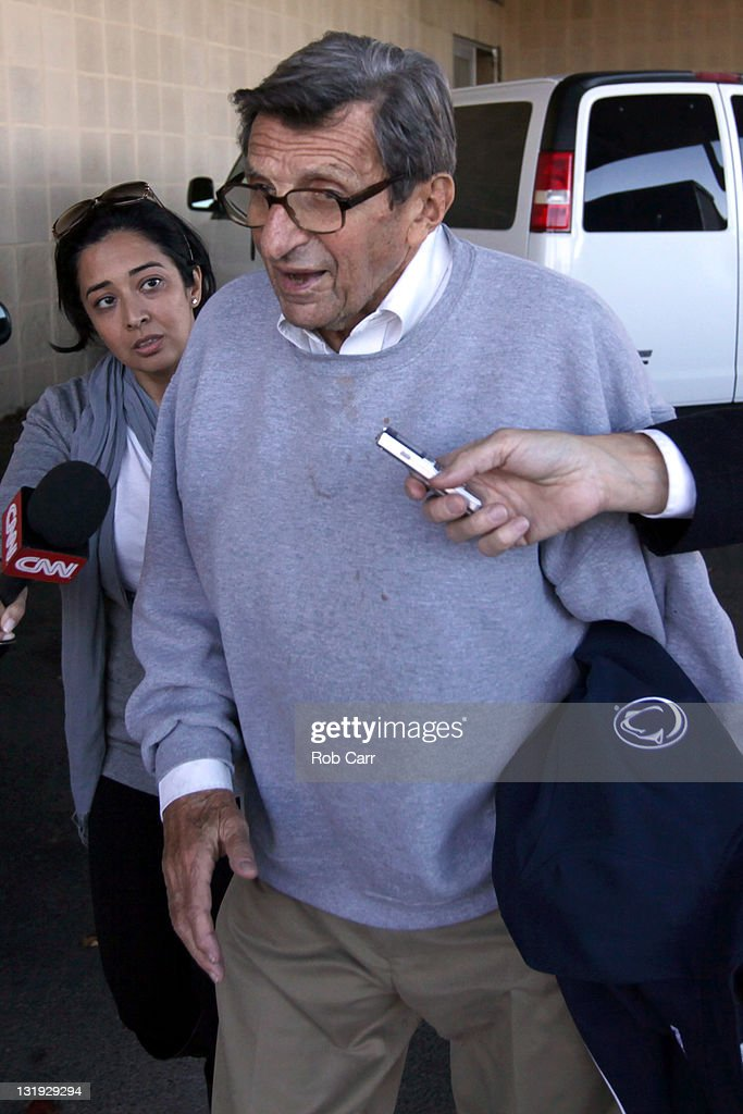 Penn State University head football coach <a gi-track='captionPersonalityLinkClicked' href=/galleries/search?phrase=Joe+Paterno&family=editorial&specificpeople=623059 ng-click='$event.stopPropagation()'>Joe Paterno</a> is surrounded by the media while leaving the team's football building on November 8, 2011 in University Park, Pennsylvania. Amid allegations that former assistant Jerry Sandusky was involved with child sex abuse, Paterno's weekly news conference was canceled about an hour before it was scheduled to occur.