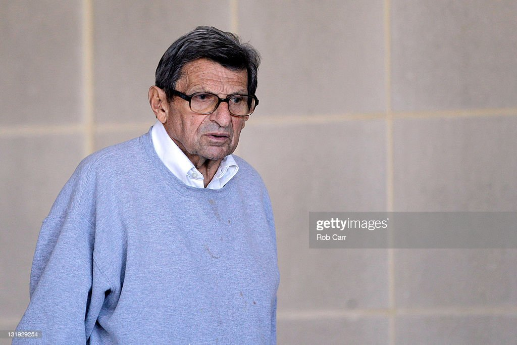 Penn State University head football coach <a gi-track='captionPersonalityLinkClicked' href=/galleries/search?phrase=Joe+Paterno&family=editorial&specificpeople=623059 ng-click='$event.stopPropagation()'>Joe Paterno</a> leaves the team's football building on November 8, 2011 in University Park, Pennsylvania. Amid allegations that former assistant Jerry Sandusky was involved with child sex abuse, Paterno's weekly news conference was canceled about an hour before it was scheduled to occur.