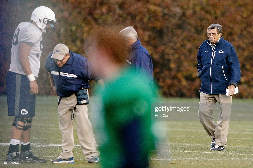 Penn State University head football coach Joe Paterno watches his team during practice on November 9, 2011 in State College, Pennsylvania.