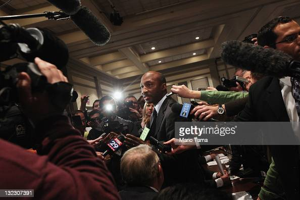 Penn State University trustee and Merck and Co CEO Kenneth Frazier who will chair the committee to investigate the Sandusky case speaks to the media...