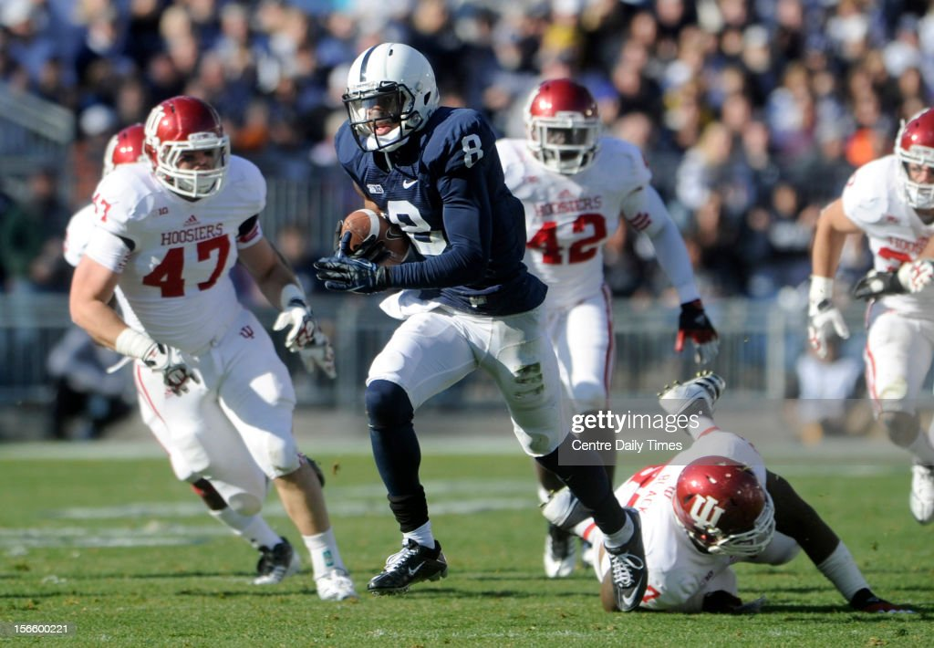 Penn State wide receiver Allen Robinson (8) breaks away for a touchdown against Indiana at Beaver Stadium on Saturday, November 17, 2012, in State College, Pennsylvania. Penn State turned Indiana away, 45-22, as Robinson recorded three TDs among his 10 catches for 197 yards.