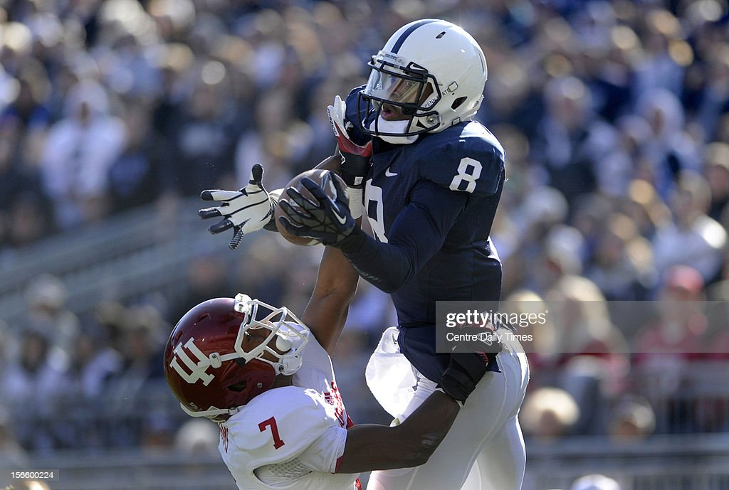 Penn State wide receiver Allen Robinson (8) hauls in a touchdown catch against Indiana's Brian Williams at Beaver Stadium on Saturday, November 17, 2012, in State College, Pennsylvania. Penn State turned Indiana away, 45-22, as Robinson recorded three TDs among his 10 catches for 197 yards.