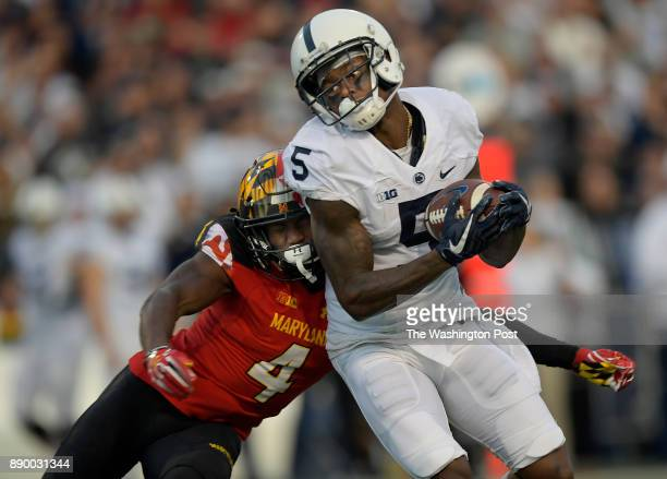Penn State wide receiver DaeSean Hamilton is hot by Maryland defensive back Darnell Savage Jr after catching a 2nd quarter pass as the Penn State...