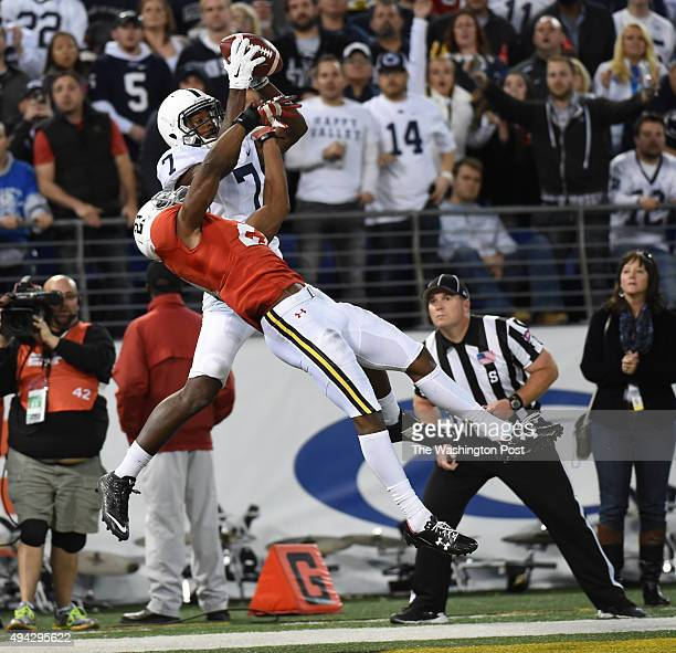 Penn State wide receiver Geno Lewis hauls in the game winning touchdown against Maryland defensive back Sean Davis during fourth quarter action at MT...