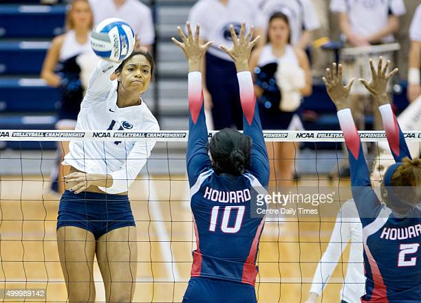 Penn State's Aiyana Whitney hits the ball past Howard's Khaila Donaldson during an NCAA women's volleyball tournament firstround match on Friday Dec...