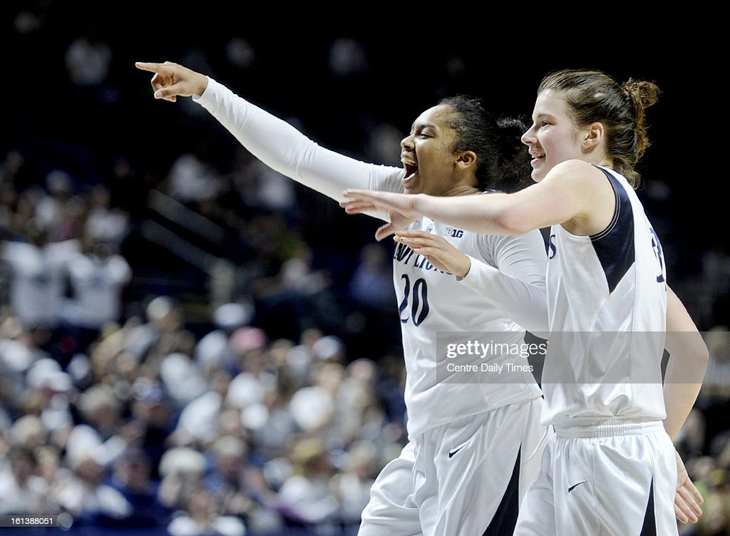 Penn State's Alex Bentley and Maggie Lucas celebrate a play against Michigan State at the Bryce Jordan Center in State College, Pennsylvania, February 10, 2013. The Lady Lions won, 71-56.