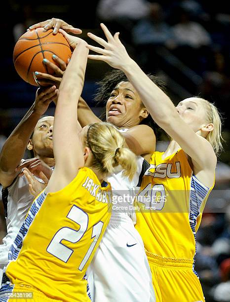 Penn State's Ariel Edwards center battles for the ball with South Dakota State's Leah Dietel and Mariah Clarin during game action at the Bryce Jordan...