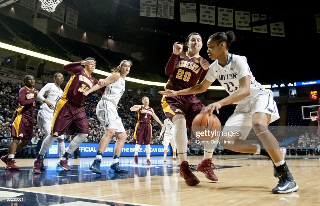 Penn State's Ariel Edwards dribbles around Minnesota's Kayla Hirt during a women's college basketball game at the Bryce Jordan Center in State College, Pa., on Sunday, Jan. 26, 2014. The Penn State Lady Lions defeated the Minnesota Gophers, 83-53.