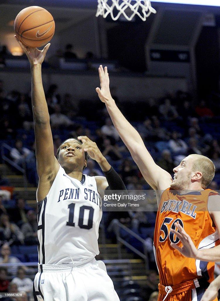Penn State's Brandon Taylor (10) shoots over Bucknell's Dom Hoffman on Friday, November 23, 2012, at the Bryce Jordan Centerin University Park, Pennsylvania. Penn State prevailed, 60-57.