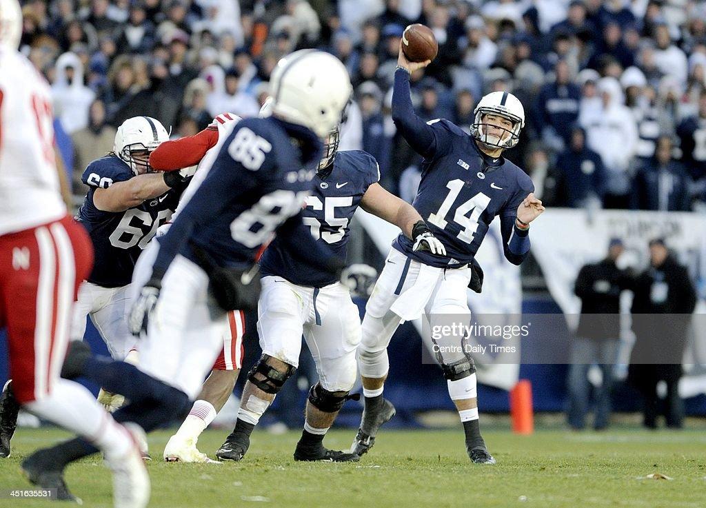 Penn State's Christian Hackenberg (14) throws to Brandon Felder against Nebraska at Beaver Stadium in University Park, Pa., on Saturday, Nov. 23, 2013. Nebraska won, 23-20.