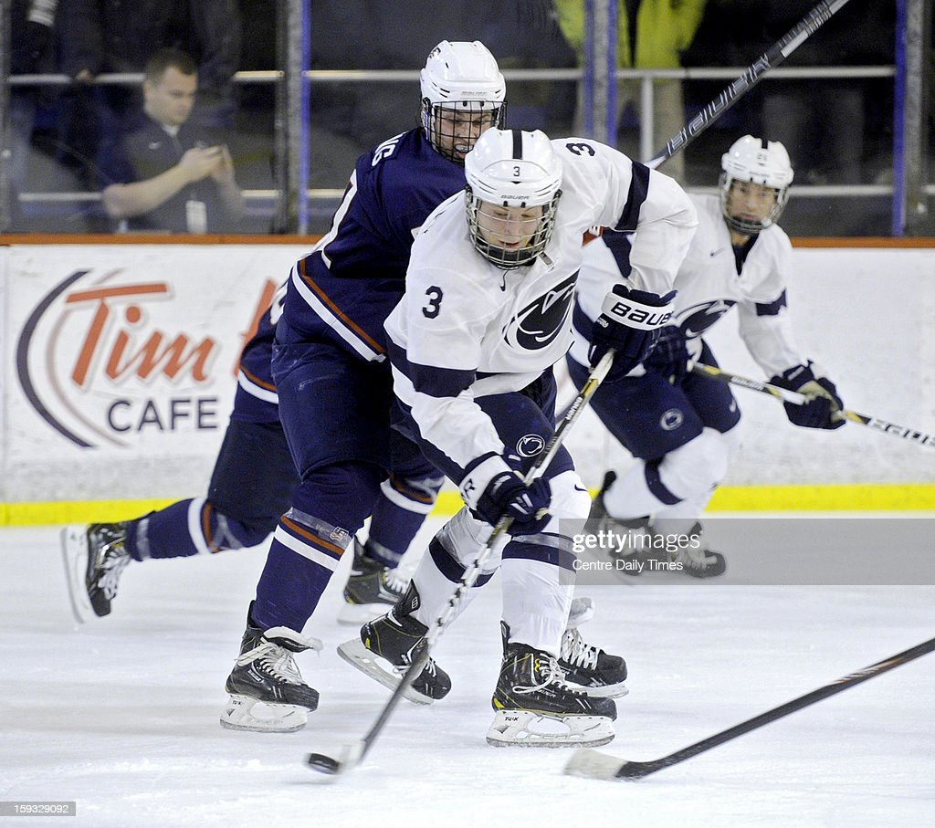 Penn State's Connor Varley (3) controls the puck against the U.S. National Under-18 on Friday, January 11, 2013, at Greenberg Ice Pavilion in University Park, Pennsylvania.