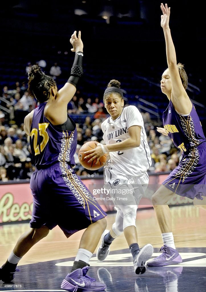 Penn State's Dara Taylor cuts past Alcorn State defender Anastasia Tuseet during game action at the Bryce Jordan Center in State College, Pa., Sunday, Dec. 22, 2013.