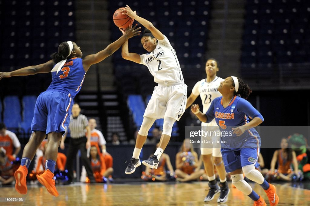 Penn State's Dara Taylor intercepts a Florida pass from January Miller. The Penn State Lady Lions defeated the Florida Gators, 83-61, during the second round of the NCAA Tournament at the Bryce Jordan Center in State College, Pa., on Tuesday, March 25, 2014.