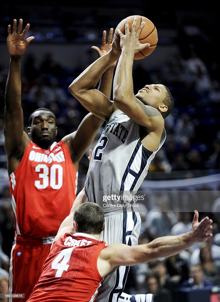 Penn State's D.J. Newbill shoots over Ohio State's Aaron Craft (4) and Evan Ravenel (30) on Saturday, January 26, 2013, at the Bryce Jordan Center in University Park, Pennsylvania. Ohio State won, 65-51.