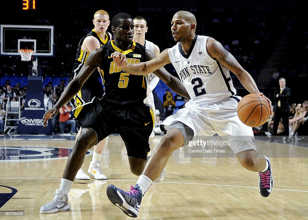 Penn State's D.J. Newbill (2) works off the dribble against Iowa's Anthony Clemmons at the Bryce Jordan Center in University Park, Pennsylvania, on Thursday, February 14, 2013. Iowa won, 74-72.