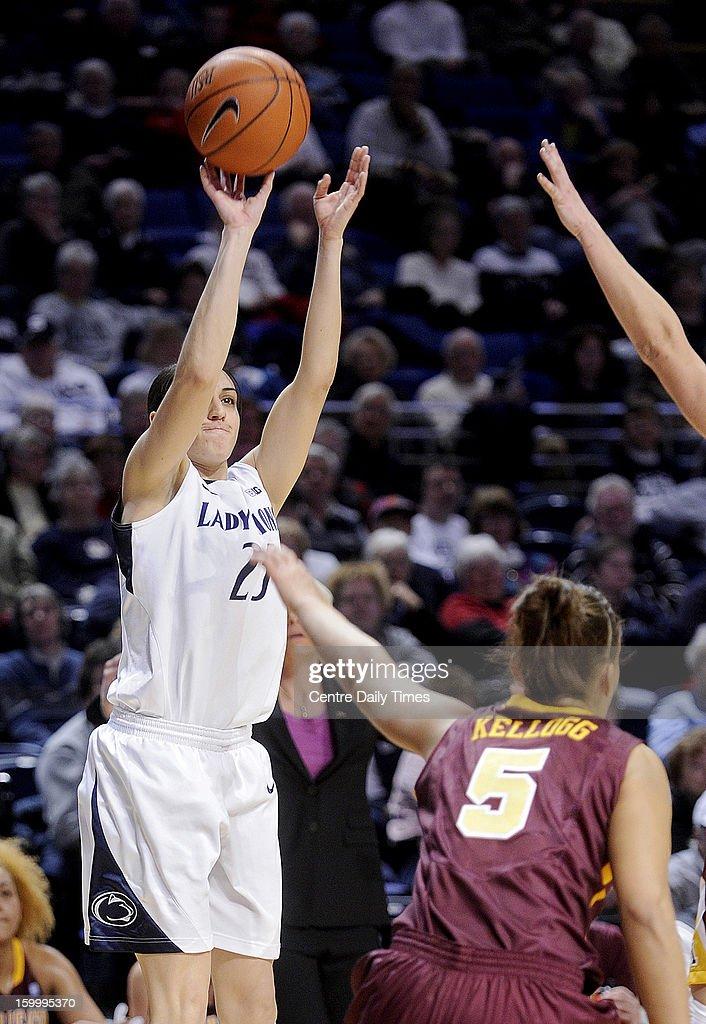 Penn State's Gizelle Studevent shoots a 3-pointer against Minnesota's Kionna Kellogg (5) on Thursday, January 24, 2013, at the Bryce Jordan Center in University Park, Pennsylvania. The Lady Lions won, 64-59.